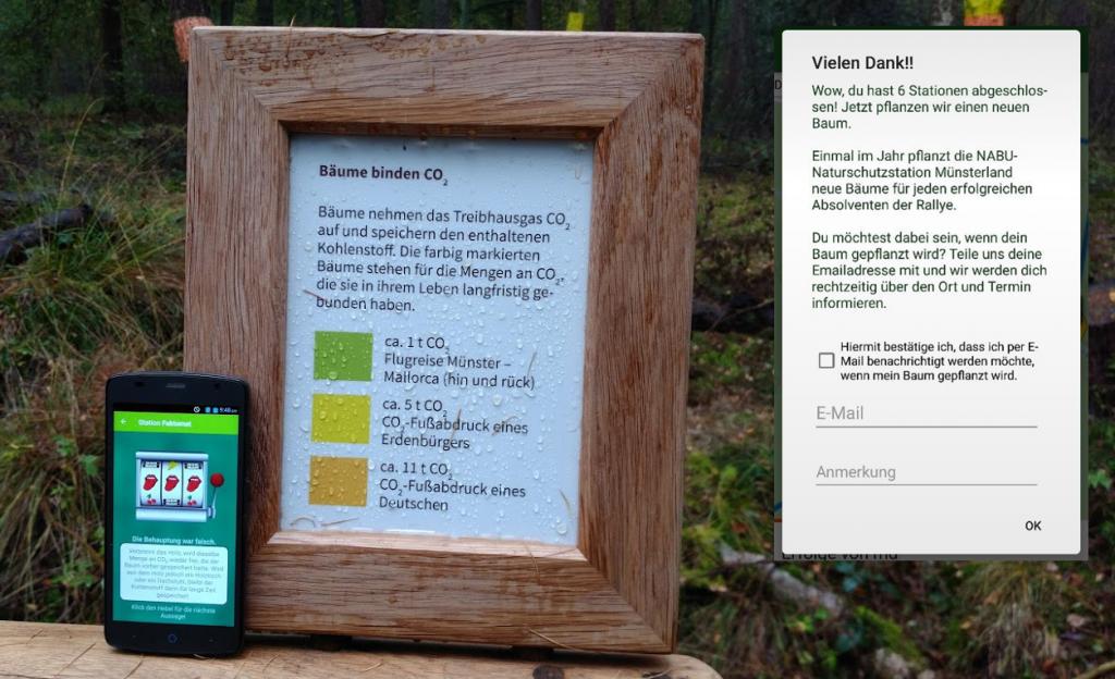 Digital-analoge Spielstation am Wald-Klima-Lehrpfad an der NABU-Station Münsterland